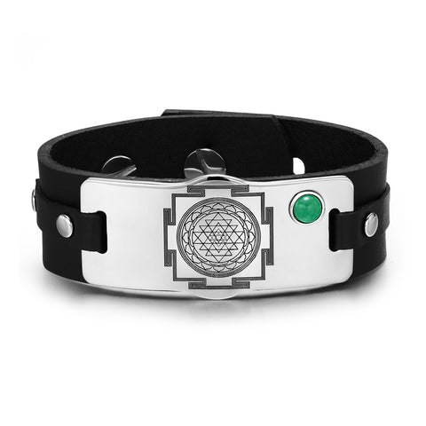 Sri Yantra Magic Chakra Powers Unique Amulet Leather Bracelets