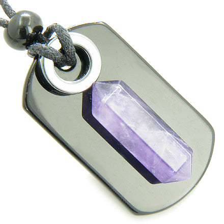 Travel Protection Talisman Amethyst and Purple Quartz Dog Tag Jewelry and Amulets