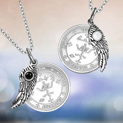 BestAmulets Amulet Spiritual Protection Eagle Lucky Feather Tag Black Agate Pendant Necklace