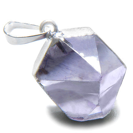 Brazilian Lucky Amethyst Crystal Point Charm Amulet Gemstone Dipped in Silver Pendant