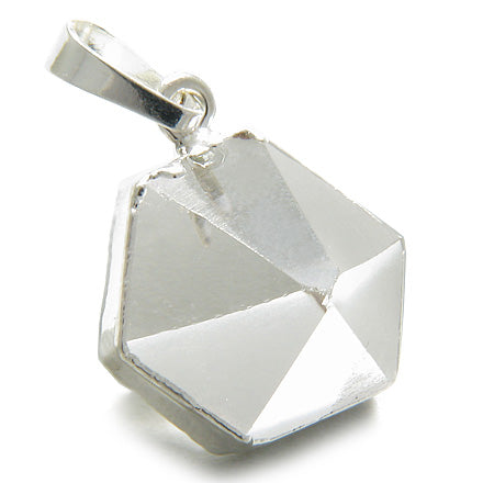 Brazilian Healing Rock Quartz Crystal Point Charm Amulet Gemstone Dipped in Silver Pendant