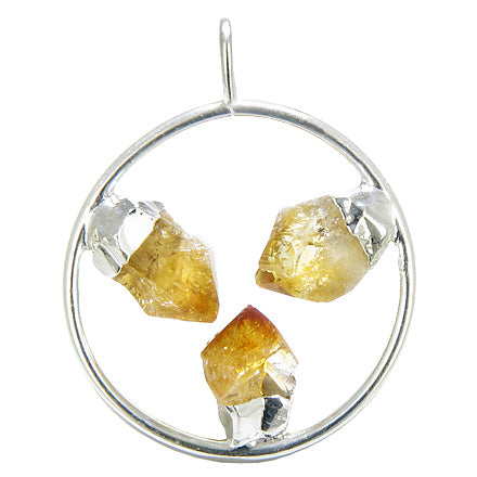 Brazilian Lucky Circle with Triple Rough Citrine Crystal Point Gemstones Dipped in Silver Pendant
