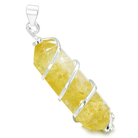 Brazilian Crystal Point Citrine Wand Healing Amulet Wrapped Infinity Style Setting Pendant Necklace