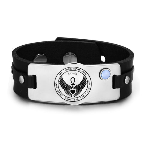 Archangels 12 Guardian Angels Wings Heart Ankh Amulet Blue Simulated Cats Eye Leather Bracelet