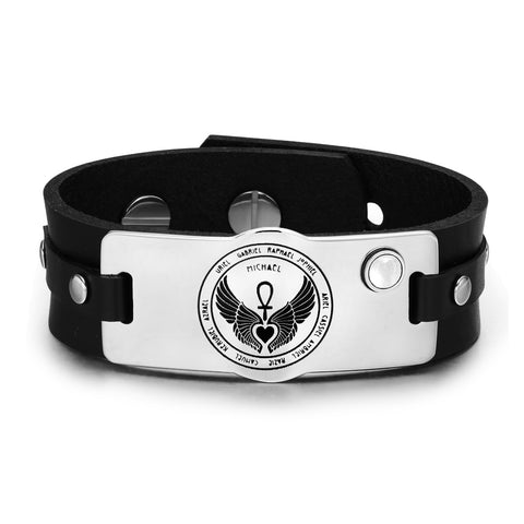 Archangels 12 Guardian Angel Wings Heart Ankh Amulet White Simulated Cats Eye Leather Bracelet