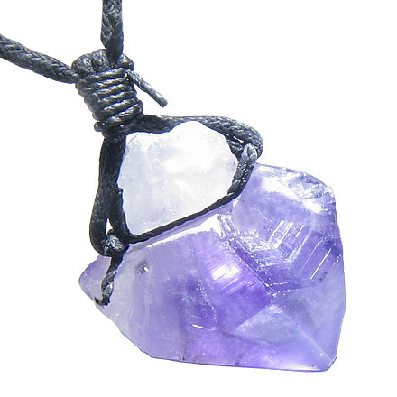 Brazilian Large Crystal Point Rough Amethyst Gemstone Lucky Charm Amulet Pendant Necklace