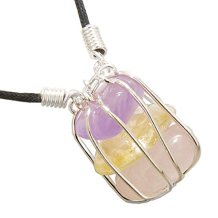 Brazilian Triple Lucky Tumbled Amethyst Citrine Rose Quartz Crystals Caged Gem Pendant Necklace