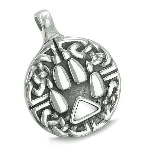 Amulet Celtic Shield Knot Wolf Paw Protection Charm Magic Triangle White Cats Eye Pendant Necklace