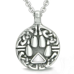 Celtic Shield Knot Protection Magic Powers Amulet Pink Simulated Cats Eye Donut Pendant 22 Inch Necklace