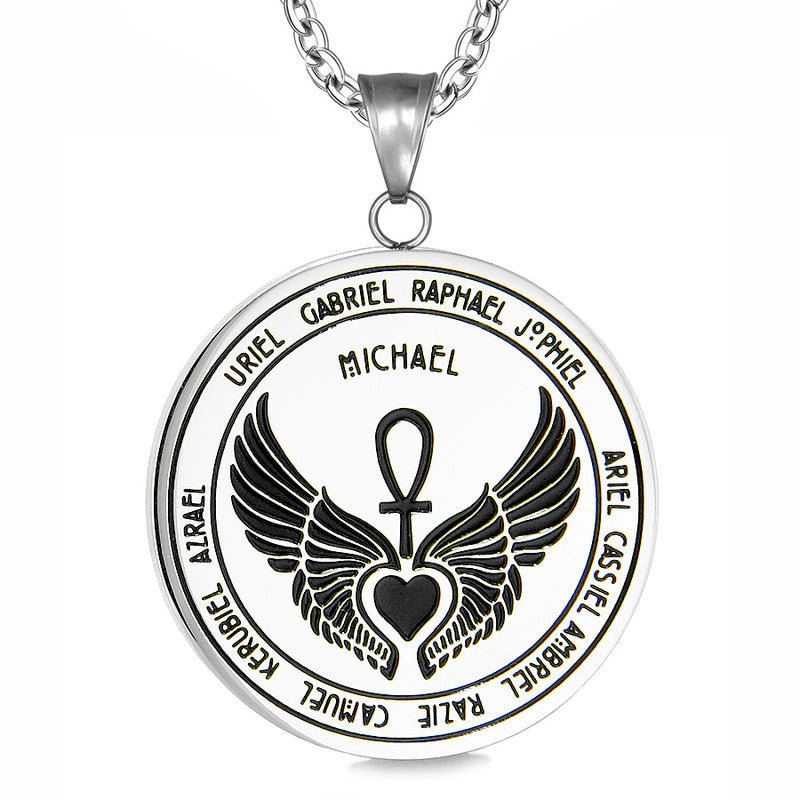 Archangels 12 Guardian Angels Ankh And Heart Medallion Coolamulets