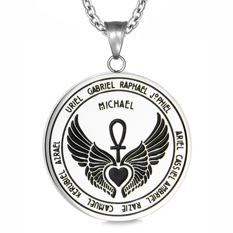 Archangels 12 Guardian Angels Ankh and Heart Medallion