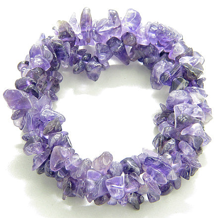 Triple Chip Amethyst Crystals Gemstone Travel Protection Talisman Bracelet