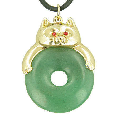 Fortune Cat Lucky Donut Money Talisman Green Aventurine Pendant Necklace