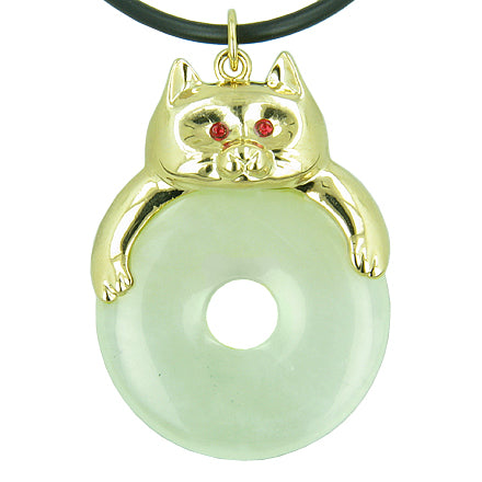 Fortune Cat Lucky Donut Good Luck Talisman Green New Jade Pendant Necklace