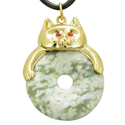 Fortune Cat Lucky Donut Good Luck Talisman Peace Jade Pendant Necklace