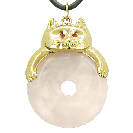 Fortune Cat Lucky Donut Love Talisman Rose Quartz Pendant Necklace