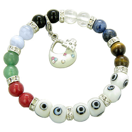Chakra Gemstones and Evil Eye Swarovski White Eyes with Purse Charm Bracelet