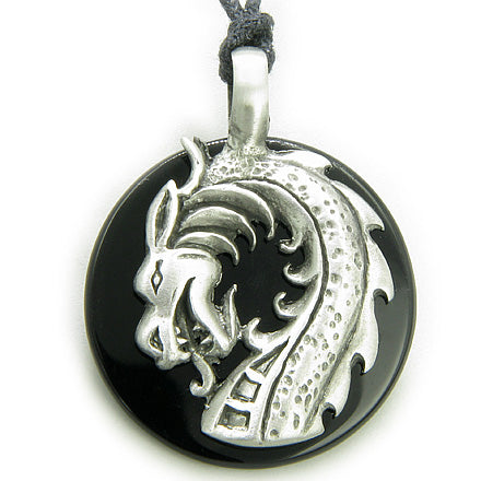 Black Onyx Magic Powers Circle Dragon Spiritual Protection Necklace Pendant
