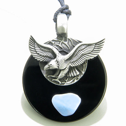 Double Circle Hunting Eagle Amulet Black Onyx and Blue Lace Agate Necklace