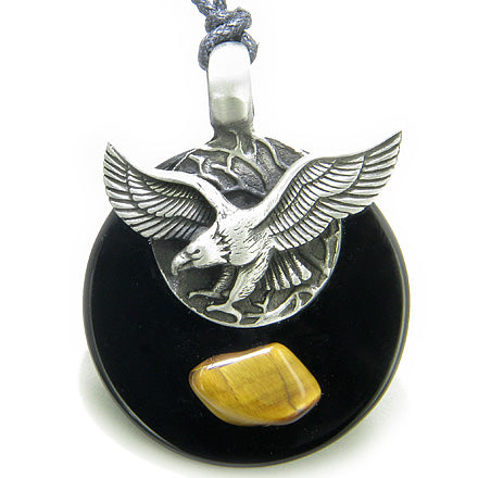 Double Circle Hunting Eagle Amulet Black Onyx and Tiger Eye Necklace