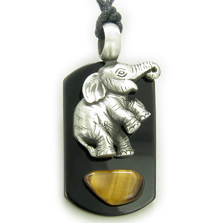 Amulet Lucky Elephant Tag Black Onyx and Tiger Eye Necklace Pendant