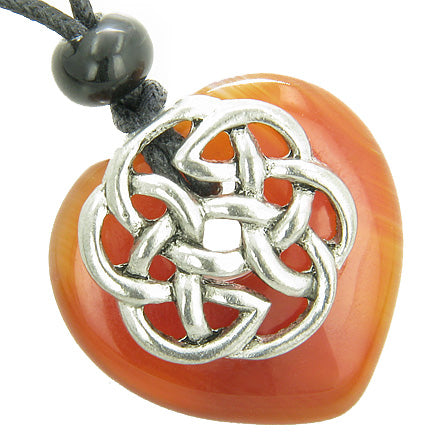 Amulet Celtic Shield Knot Puffy Heart Carnelian Gemstone Pendant Necklace