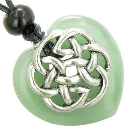 Amulet Celtic Shield Knot Puffy Heart Green Aventurine Gemstone Pendant Necklace
