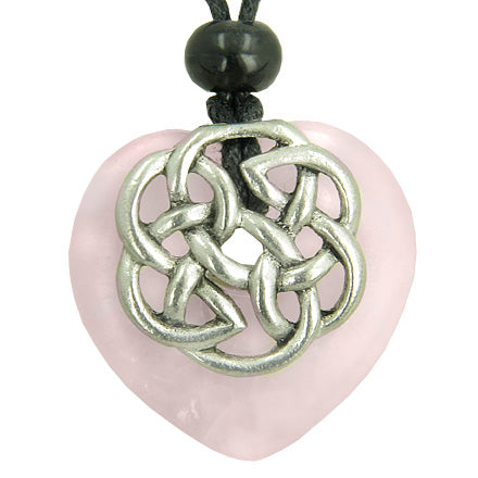 Amulet Celtic Shield Knot Puffy Heart Rose Quartz Gemstone Pendant Necklace