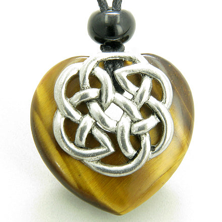Amulet Celtic Shield Knot Puffy Heart Tiger Eye Gemstone Pendant Necklace
