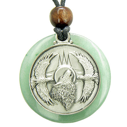 Amulet Howling Wolf Eagles Magic Medallion Circle Aventurine Pendant Necklace