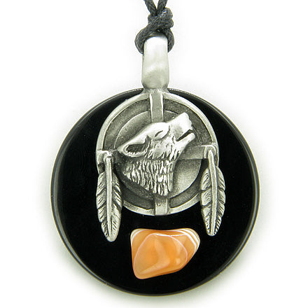Amulet Wolf Feathers Circle Black Onyx and Carnelian Gemstone Necklace