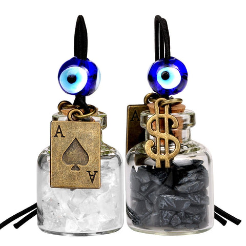 Ace Magic Dollar Symbol Powers Small Car Charms Home Decor Bottles Quartz Black Obsidian Amulets