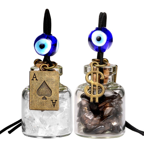 Ace Magic Dollar Symbol Powers Small Car Charms Home Decor Gem Bottles Smoky  Rock Quartz Amulets