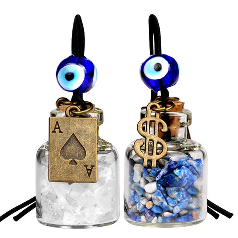 Ace Magic Dollar Symbol Powers Small Car Charms or Home Decor Bottles Quartz Lapis Lazuli Amulets