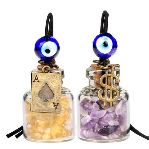 Ace Magic Dollar Symbol Powers Small Car Charms or Home Decor Gem Bottles Amethyst Citrine Amulets