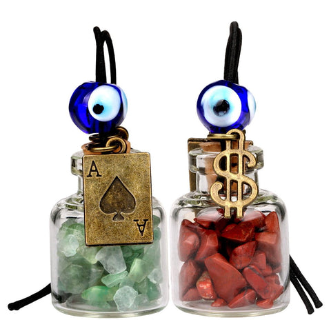 Ace Magic Dollar Symbol Powers Small Car Charms or Home Decor Bottles Jasper Green Quartz Amulets