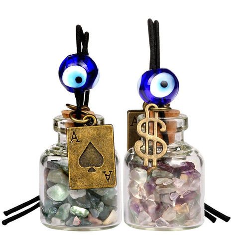 Ace Magic Dollar Symbol Powers Small Car Charms or Home Decor Bottles Moss Agate Fluorite Amulets