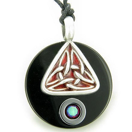 Amulet Celtic Triquetra Magic Double Circle Spiritual Protection Black Onyx and Hematite Necklace
