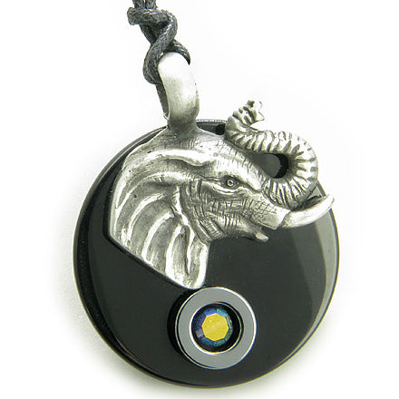 Amulet Lucky Elephant Spiritual Protection Double Circle Black Onyx and Hematite Pendant Necklace