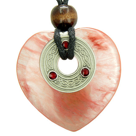 Celtic Triquetra Knot Protection Amulet Cherry Quartz Gemstone Heart Pendant Necklace