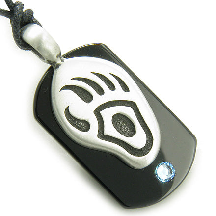 Amulet Spiritual Protection Bear Paw Black Onyx Tag Sky Blue Swarovski Crystal Pendant Necklace