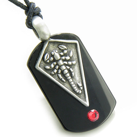 Amulet Magic and Protection Scorpio Spiritual Black Onyx Tag Red Swarovski Crystal Pendant Necklace