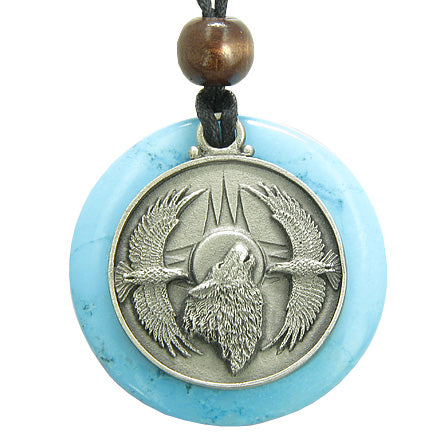 Amulet Howling Wolf Eagles Magic Medallion Circle Turquoise Pendant Necklace