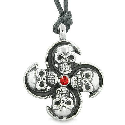 Supernatural Skull Powers Magic All Forces of Nature Amulet Red Crystal Pendant Adjustable Necklace