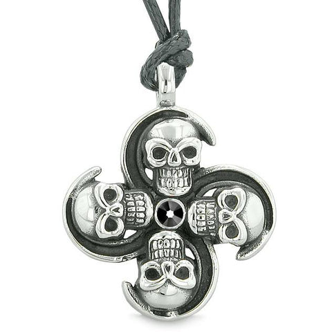 Supernatural Skull Powers Magic All Forces of Nature Amulet Jet Black Crystal Pendant Necklace
