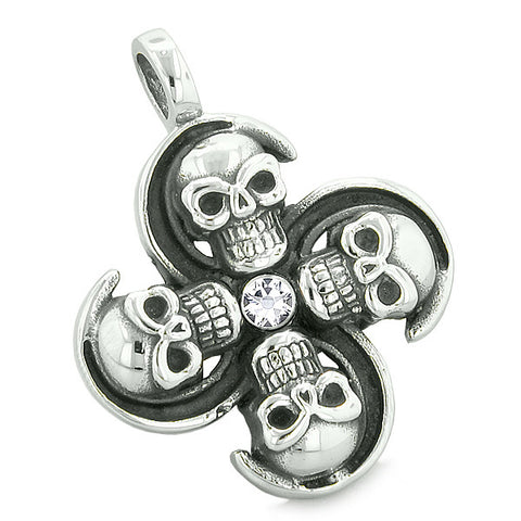 Supernatural Skull Powers Magic All Forces of Nature Amulet White Crystal Pendant 22 inch Necklace