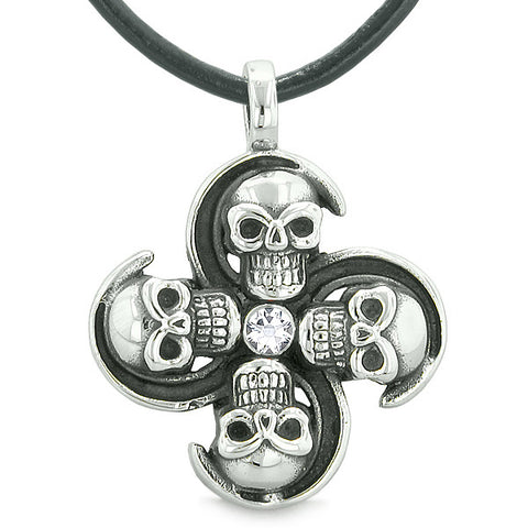 Supernatural Skull Powers Magic All Forces of Nature Amulet White Crystal Pendant Leather Necklace