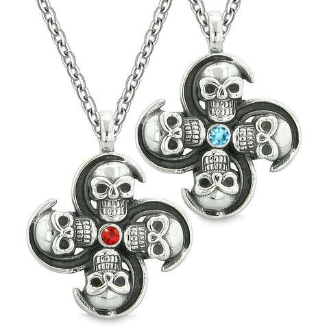 Supernatural Skull Amulet Powers Love Couples or Best Friends Blue Red Crystals Pendant Necklaces