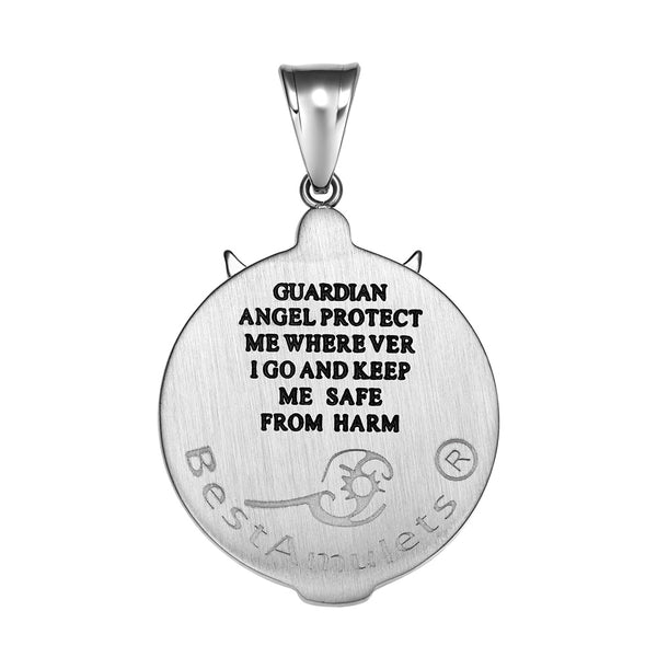 Guardian Archangel Michael Medallion Star of David Accents Amulet Pink Crystal Pendant 18 Inch Necklace