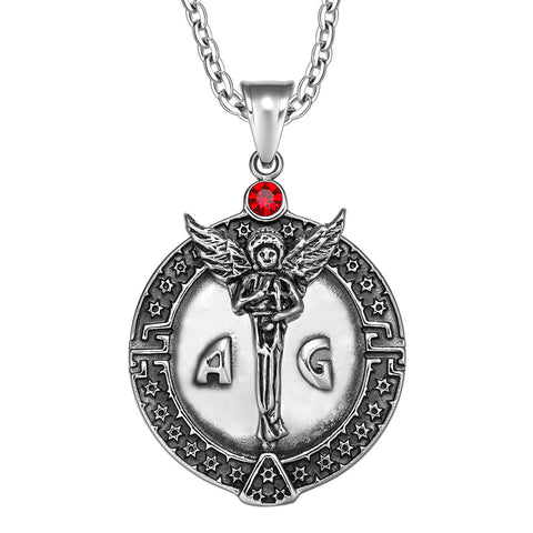 Guardian Archangel Michael Medallion Star of David Accents Amulet Red Crystal Pendant 18 Inch Necklace